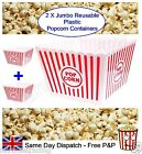 2x Jumbo Reusable Plastic Novelty Popcorn Boxes Tub Container Movie Party Snacks