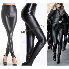 Lady Women's Sexy High Waisted Faux Leather Skinny Stretch Pants Slim Leggings F