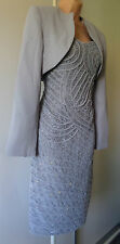 PRETTY LADIES PARTY WEDDING GREY SILVER SEQUINS DRESS SUIT SIZE 10/12?