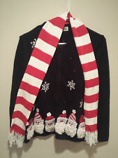 Vintage Ugly Christmas Sweater Tacky Medium M Black Classic Elements Santa Scarf