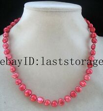 """freshwater pearl pink red baroque necklace 16.5"""" wholesale nature beads gift"""
