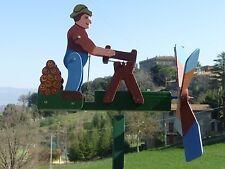 SEGNAVENTO ANIMATO TAGLIALEGNA IN LEGNO ARTIGIANALE 100% MADE IN ITALY-WHIRLIGIG