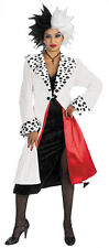 DELUXE CRUELLA DEVILLE ADULT LADY HALLOWEEN FANCY DRESS COSTUME - STD UP TO 16