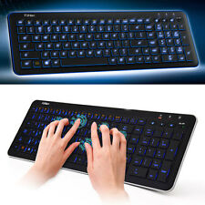 Blue LED Backlit Wireless Intelligent Bluetooth Keyboard + USB Receiver for PC