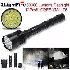 XLightFire 30000Lumens 12x CREE XML T6 5 Mode 18650 Super Bright LED Flashlight