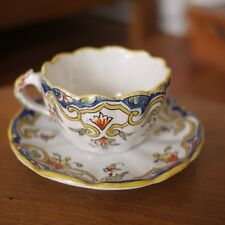 "Antique Quimper Rouen French Faience Pottery ""Loches"" Floral Tea Cup w/ Saucer"