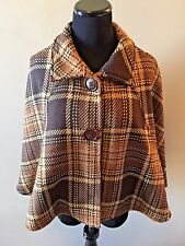 Nordstrom Brown 100% Wool Plaid Crop Beltable Cape Jacket made in Italy CJ12