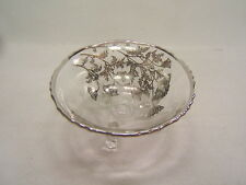 """Vintage Glassware Bowl Silver Overlay Floral 3-footed 6"""" across VGC"""