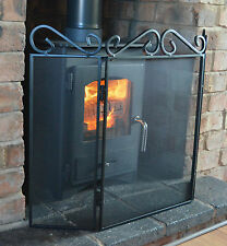 "Fire Guard Traditional Scroll Top, 3 Fold Fire Screen  H23"" (58cm)"
