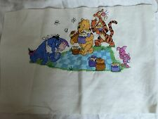 Winnie The Pooh Piglet Tigger Eeyore Finished Cross Stitch Sampler