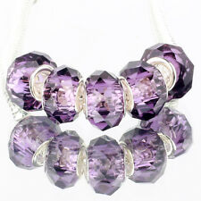 Crystal violet 5pcs MURANO glass bead LAMPWORK fit European Charm Bracelet