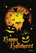 NEW TOLAND GARDEN FLAG HAPPY SCARY HALLOWEEN BLACK CAT OWL & BATS 12.5 x 18