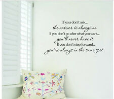 IF YOU DON'T ASK Quote Wall Sticker Inspirational Saying Wall Decal Vinyl Decor