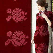 China style vintage rose pattern on red silk burnt-out velvet fabric,SVL005