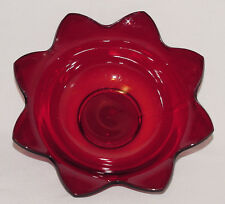 PERFECT Vintage Ruby Red Pointed-Edge ROUND BOWL!