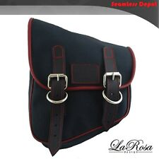 La Rosa Black Canvas Red Stitch Harley Softail Rigid Left Swing Arm Saddlebag