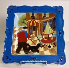JENNIFER BRINLEY Certified International French Bistro Cafe Blue Plate Dish