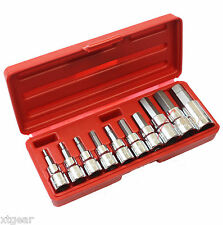 "10pc Drop Forged Metric 3/8"" & 1/2"" Drive Hex Key Allen Head Socket Bit Set New"