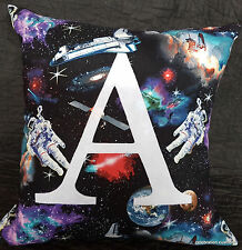 LETTER CUSHION PILLOW COVER BOYS SPACE PERSONALISED GIFT BLACK WHITE