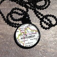 HOPE HULL SNOWDOUN MONTGOMERY ALABAMA USA Map Pendant black necklace ATLAS f04