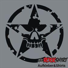 Hochwertiger Totenkopf Stern Army Skull 30cm Aufkleber   Autoaufkleber Sticker