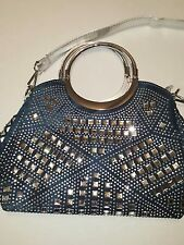 Blue Jean Studded Rhinestone Bling Bling Tote Shoulder Bag Purse