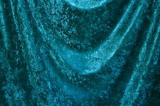 """Crushed Panne Velour Teal 60"""" Wide 100% Poly Fabric by the Yard"""