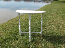"ANTIQUE STYLE VINTAGE ""SHABBY CHIC"" DEMI-LUNE SPINDLE LEG SIDE TABLE"