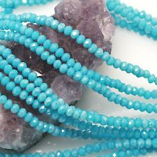 100 pcs 4mm Chinese Crystal Glass Beads Faceted Rondelle Chalcedony Blue AB