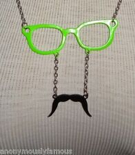 "HOT TOPIC Sunglasses with Mustache 27"" Necklace Silver Green Black"