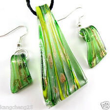 Green Trapezoid Dichroic Foil Lampwork Glass Pendant Necklace Earring set gh1135