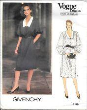 Vogue Paris Original Sewing Pattern 1140 Givenchy Misses' Dress SZ 14 Uncut