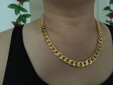 "24"" Lifetime Guarantee 12mm 18K Gold Plate Chain Necklace Men Christmas Gift Box"