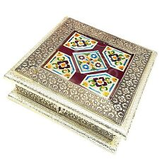 Wooden Gift Box Jewellery 4 Part Storage Organiser Antique Gold Hand Made India