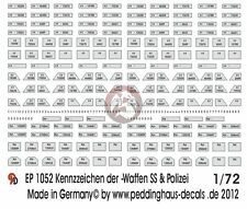 Peddinghaus 1/72 German Police and Waffen-SS License Plates WWII [Decal] EP1052