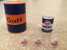 1/18 TSM GULF OIL PACK OIL DRUMS MOTOR OIL CANS 5 PCS MODIFIED GARAGE DIORAMA
