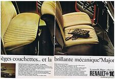 PUBLICITE ADVERTISING 054 1965 RENAULT R10 major sièges couchettes (2 pages)