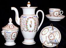 """c1800 Empire porcelain coffee set, Old Paris, France, 11"""" coffee pot, cup/saucer"""