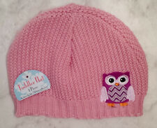 Double Nice Light Pink Toddler Girls Soft Knit Winter Hat With Owl Decoration