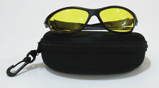 Pouch + Night Vision Driving Sun Glasses Anti Glare Yellow Lens Goggles Sunglass