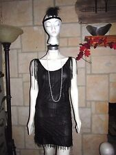 ADULT SEXY ROARING 20'S BLACK FLAPPER COSTUME DRESS W/HEADPIECE SIZE SMALL 4/6