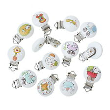5Pcs Baby Pacifier Clips Clasps Wooden Soother Dummy Nipples New