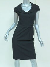 Moschino Cheap & Chic Dress Collared Cap Sleeve Stretch-Cotton Black Size 40