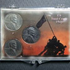 "*1943  LINCOLN WARTIME ""STEEL"" CENTS, 3-COIN P/D/S  Mint Set in Display Case #C"
