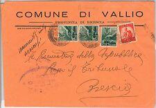 ITALIA  REPUBBLICA storia postale - BUSTA COMUNALE di Vallio Terme 1950