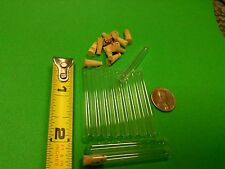 10 New, tiny glass test tubes, little/small, 6x50 mm with stoppers
