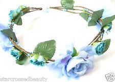 Kornblume Blau Rose Blume Haar-krone Stirnband Vintage Blumenmuster Kopfschmuck