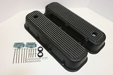 BBC Finned Tall Black Polished Aluminum Valve Covers BB Chevy 396 427 454 502