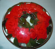 Glass candle holder with red roses 8 inches