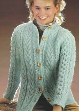 "Ladies Aran Cardigan/Jacket Knitting Pattern with cables 32-38"" 728"
